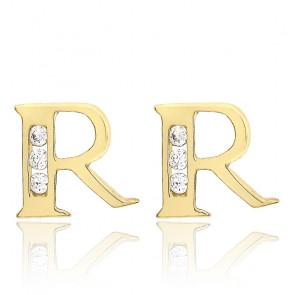 Clous d'oreilles lettre R Or jaune 9K & Zirconium