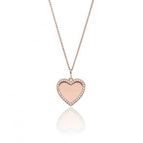 Collier acier inoxydable doré rose Je t'aime, JF03362791