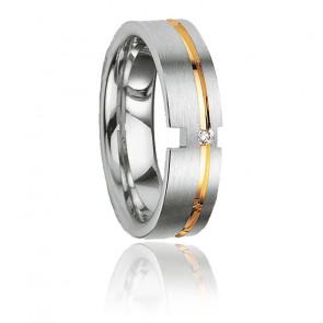 Alliance Nauplios en argent, plaqué or & diamant