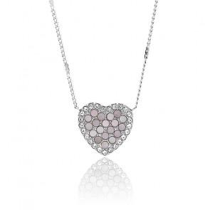 Collier cœur mosaïque en acier inoxydable, JF03415040