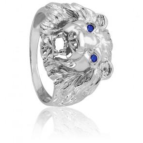 Chevalière Tête de Lion, Yeux bleu, Or blanc 9K ou 18K