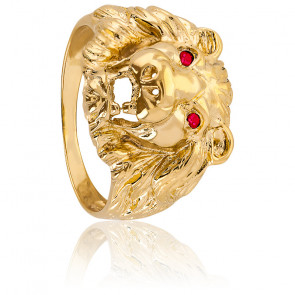 Chevalière tête de Lion, yeux rouge, Plaqué Or