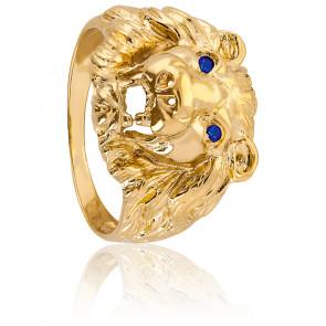 Chevalière tête de lion, yeux bleux, Plaqué Or