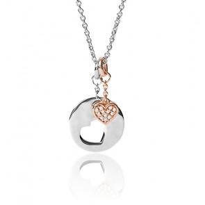 Collier pendentif en argent 925 rose très pâle Rosy Hearts, JFS00498998