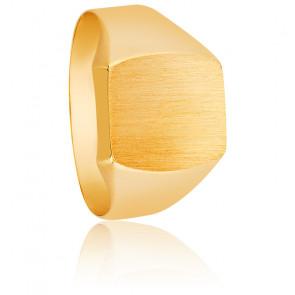 Chevalière Or jaune 18ct, plateau brossé 11 x 12 mm