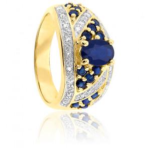 Bague Or Jaune 9K Saphir & Diamants