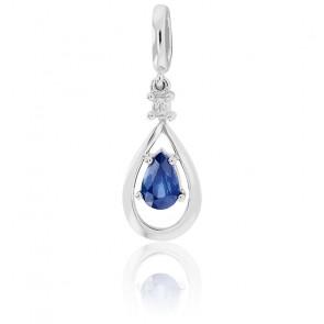 Pendentif Goutte Or blanc 9K Saphir & Diamant