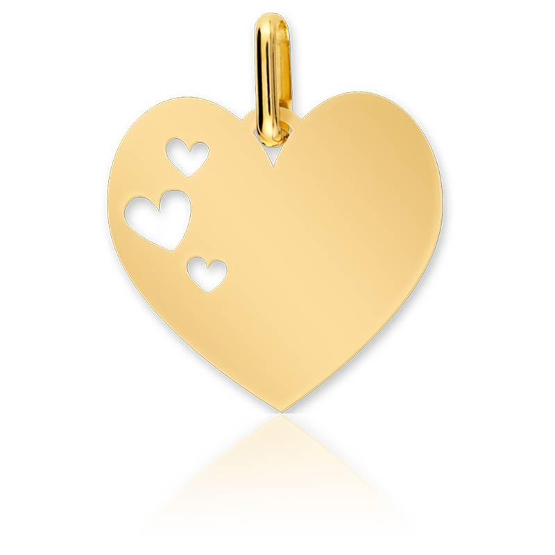Médaille Ajourée Coeur Or Jaune 9K