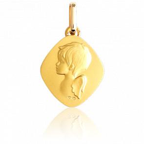 Médaille Losange Ange Or Jaune 9K