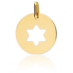 Médaille Etoile de David Ajourée Or Jaune 9K