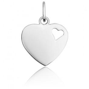 Pendentif coeur ajouré or blanc 9K