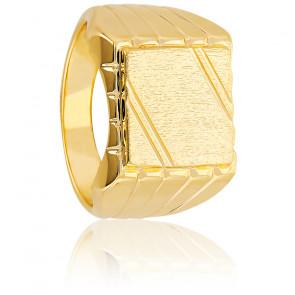 Chevalière plaqué or, 3 microns motif