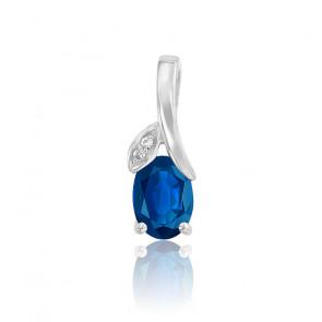 Pendentif Goutte Or Blanc 18K Diamants & Saphir