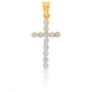 Pendentif Croix Or Jaune 18K & Diamants
