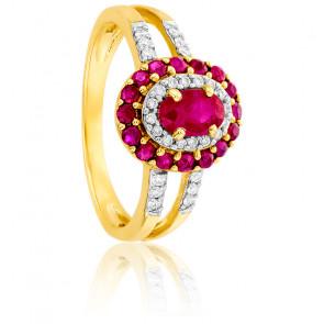 Bague Or Jaune 18K Diamants & Rubis