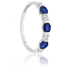 Bague Or Blanc 18K Saphirs & Diamants