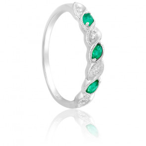 Bague Or Blanc 18K Diamants & Emeraudes