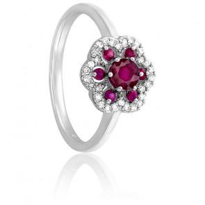 Bague Fleur Or Blanc 18K Diamants & Rubis