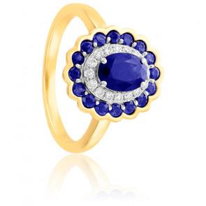 Bague Fleur Or Jaune 18K Diamants & Saphirs