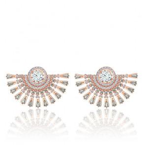 Boucles d'oreilles Swarovski sparkling dance dial up, gris, métal doré rose