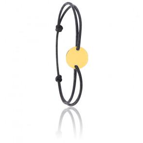 Bracelet cordon noir médaillon rond, Or jaune 9 ou 18K