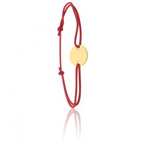 Bracelet cordon rouge médaillon rond, Or jaune 9 ou 18K