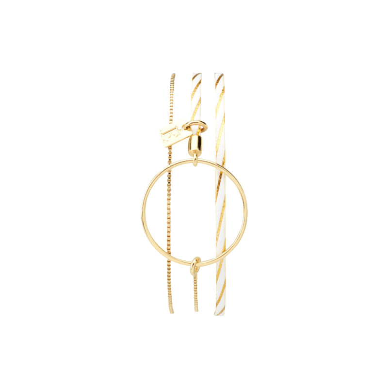 Bracelet Nolah Blanc lignes Dorés
