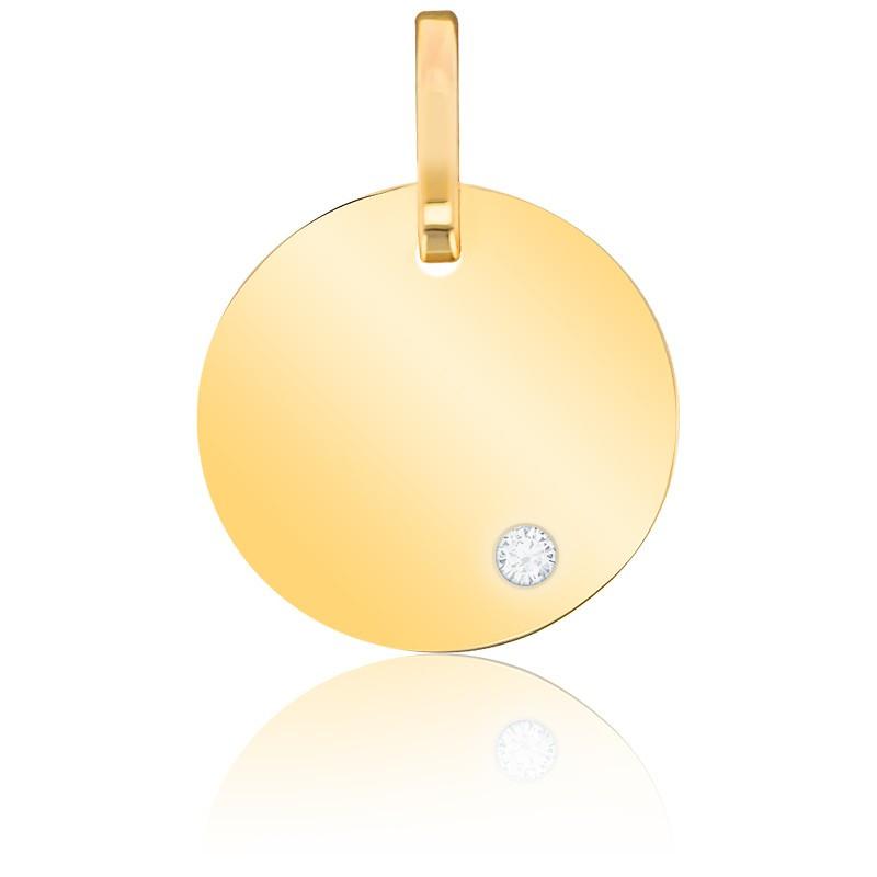 Médaille Ronde Diamant & Or Jaune 9K ou 18K