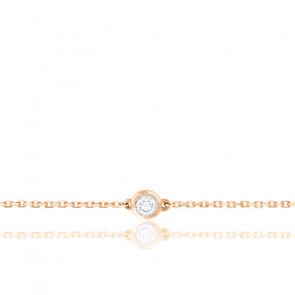 Bracelet Diamant Serti Clos Or Rose 18K