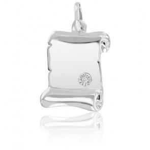 Pendentif Parchemin, Diamant, Or blanc 9K