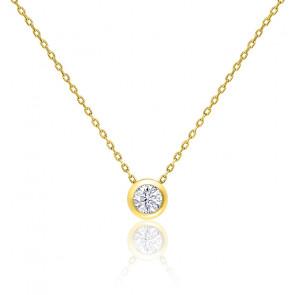 Collier Diamant G/VS Clos Or Jaune 18K