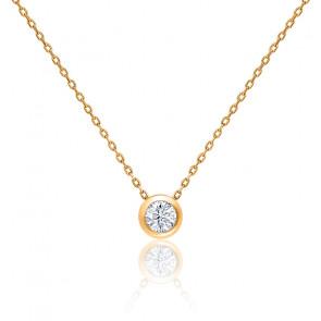 Collier Diamant G/VS Clos Or Rose 18K