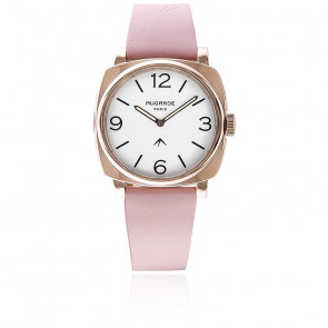Montre Golden Chic Cadran Blanc Bracelet Cuir Rose