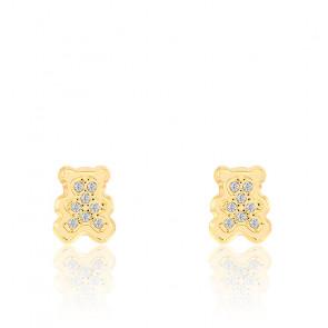 Boucles d'oreilles Ourson & Zirconium Or 9K