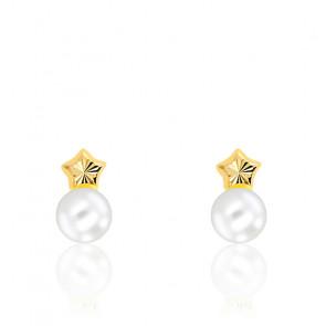 Boucles d'oreilles Etoile & Perle Or Jaune 9K