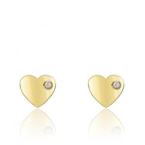 Boucles d'oreilles Cœur Zirconium Or Jaune 18K