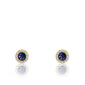 Boucles d'oreilles Saphir Zirconium Or Jaune 9K