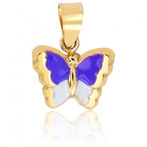 Pendentif Papillon Or Jaune 18K Lila & Blanc