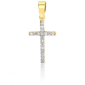 Pendentif Croix Pavée Diamants & Or Jaune 18K
