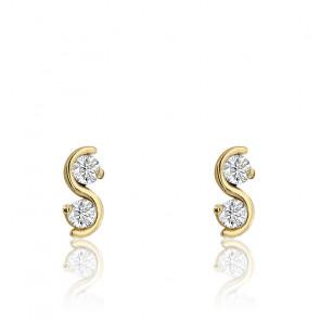 Boucles d'oreilles Vague Zirconium Or Jaune 9K