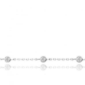 Bracelet Or Blanc 9K & Zirconium
