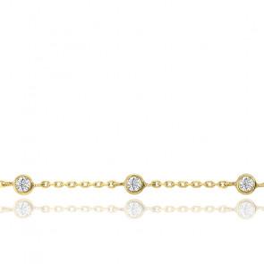 Bracelet Or Jaune 9K & Zirconium