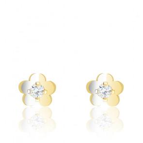 Boucles d'oreilles Fleur Oxyde de Zirconium Or Jaune 9K