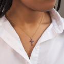 Croix saphir et diamant or jaune 9K ou 18K