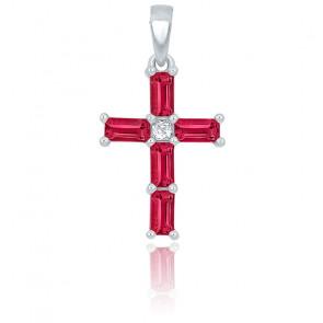 Croix rubis rectangle et diamant or blanc 9K ou 18K