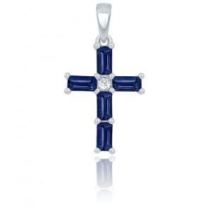 Croix saphir rectangle et diamant or blanc 9K ou 18K