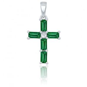 Croix émeraude rectangle et diamant or blanc 9K ou 18K