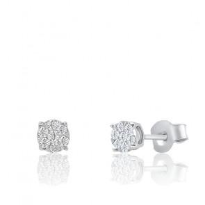 Puces d'oreilles Illusion diamants & or blanc 18K