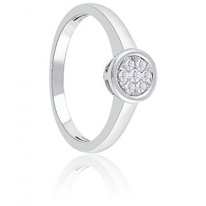 Bague Illusion or blanc & diamants 0,08 ct sertis clos