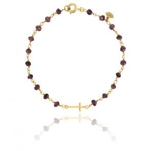 Bracelet Chaîne Perlée Grenat Plaqué Or Jaune